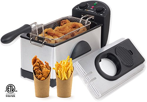 Gourmia GDF300 Electric Restaurant Deep Fryer With Dual Temperature and Timer Dials - 3 Quart - Stainless Steel - 1500 Watts - Fry 2 1/2 lbs. of Food - Includes E-Recipe Book - 110/120V