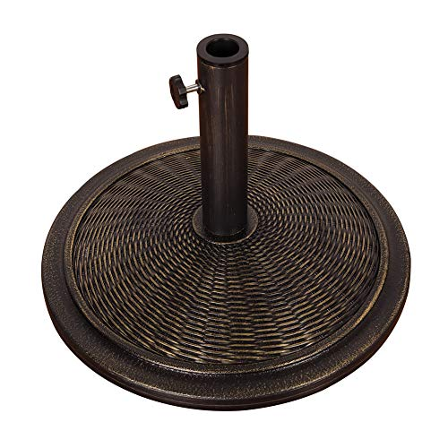 Sundale Outdoor Universal Cement Patio Umbrella Base Heavy Duty Umbrella Stand in Classic Wicker Rattan Pattern, Antique Bronze Finish, 18.9-in Diameter, 30 lbs (Rattan Antique)