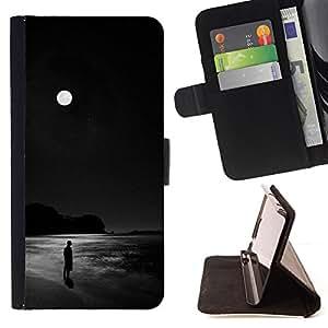 MOON DARK OCEAN NIGHT BLACK ALONE MAN/ Personalizada del estilo del dise???¡Ào de la PU Caso de encargo del cuero del tir????n del soporte d - Cao - For Apple Iphone 4 / 4S