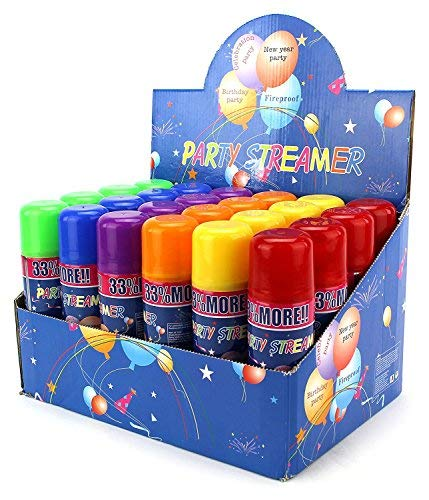 AJ Toys & Games 24 Pack of Party Streamer Spray String for Kids Events/Celebrations, Perfect for Childrens Paerties