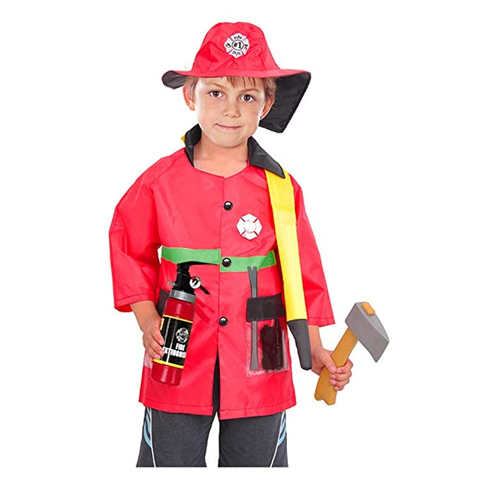 Back To Search Resultstoys & Hobbies Fireman Costume Fireman Dress Up Suit Imaginative Role Play Pretend Play Costume Firefighter Gifts For Kids