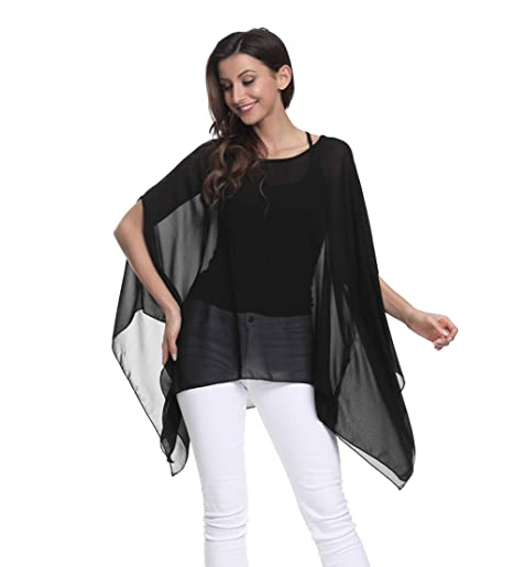 91cb416dd508ad Wiwish Women's Baggy Solid Sheer Chiffon Caftan Poncho Plus Size Batwing  Tunic Top Blouse, Black Batwing at Amazon Women's Clothing store:
