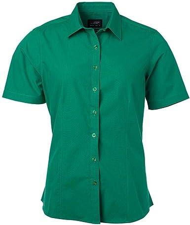 James and Nicholson - Camisa de Popelina de Manga Corta para Mujer señora (3XL) (Verde irlandés): Amazon.es: Ropa y accesorios