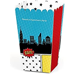 Big Dot of Happiness Personalized BAM! Superhero - Custom Baby Shower or Birthday Party Favor Popcorn Treat Boxes - Custom Text - Set of 12
