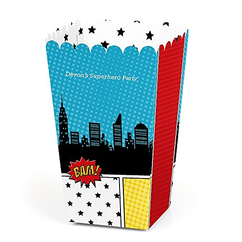 Personalized BAM! Superhero - Custom Baby Shower or Birthday Party Favor Popcorn Treat Boxes - Custom Text - Set of 12