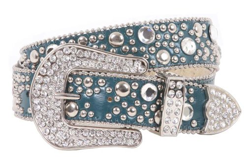Rhinestone Rivet Studs Leather Belt Size: M/L - 35