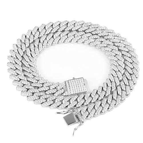 TRIPOD JEWELRY 12mm White Gold Diamond Prong Iced Out Cuban Link Chain/Bracelet - Hip Hop Miami Cuban Link Choker CZ Diamond Prong Link Choker for Men (White Gold 12mm, 20)
