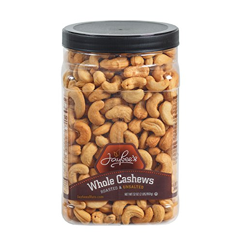Jaybee's Unsalted Cashews Extra Large - Freshly Roasted - Great Everyday Snack or Gift Giving- Reusable Container - Certified Kosher (32 - Cashews Gourmet
