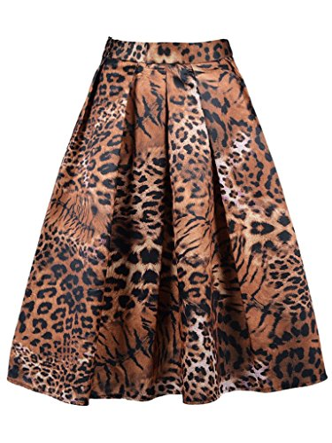 CHARLES RICHARDS CR Women's Print Floral Tiger Pattern Vintage High Waist A-Line Midi Skirt