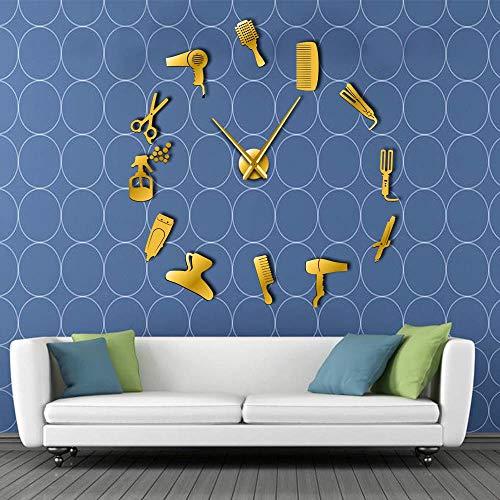 (Wall Clock DIY Barber Shop Giant with Mirror Effect Barber Toolkits Decorative Frameless Clock Watch Hairdresser Barber Wall Art)