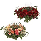 Nearly Natural 4685-RD Rose Candelabrum Decorative Silk Flower Arrangement, Red