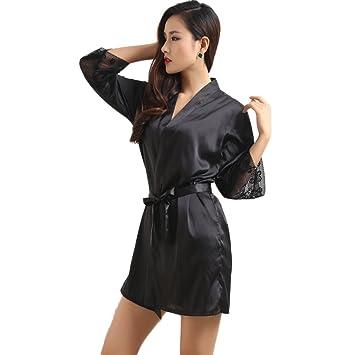 XUANLI Mujer Kimono Batas de Cuello V Satín Camisón Color Puro Estilo Corto con Encaje (Negro-Large): Amazon.es: Hogar