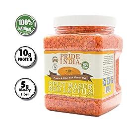Pride Of India - Indian Split Masur Red Lentils - Protein & Fiber Rich Masoor Dal, 1.5 Pound Jar