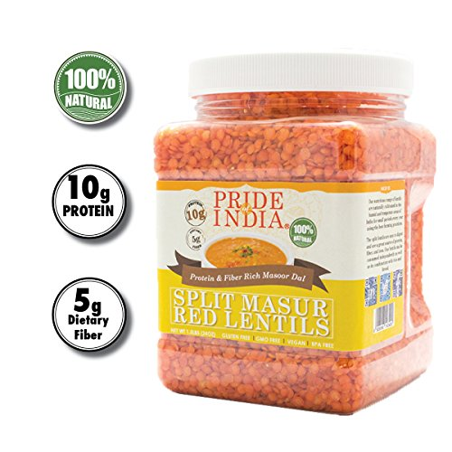 Pride Of India - Indian Split Masur Red Lentils - Protein & Fiber Rich Masoor Dal, 1.5 Pound -