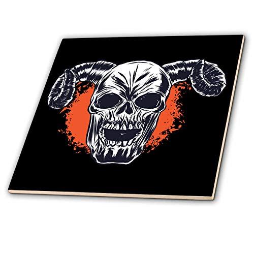 3dRose Sven Herkenrath Fantasy - Skull Skeleton Head with Horns for Halloween - 6 Inch Ceramic Tile (ct_316106_2)
