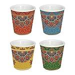 H&H Full Decoration 6 Coppette assortite CM7XH6-3840 Articoli da Cucina Made in Italy, Porcellana, Multicolore