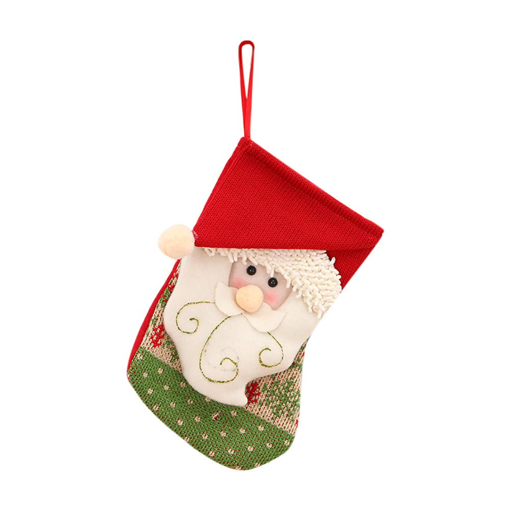 Christmas Decoration Xmas Tree Hanging, Christmas Mini Stockings Candy Gift Bag Xmas Character Cute Toy Stockings (B)