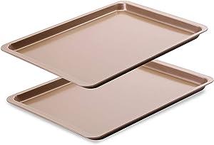 Latauar Premium Baking Sheet, Bakeware Set of 2, Cookie Sheet Half Sheet Baking Pan Stainless Steel, 14.5 Inch x 10 Inch, Non Toxic & Healthy - 2 Pack