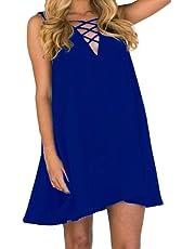 Rcool Vestido Sin Mangas Ocasional de las Mujeres de Senora Gasa de Color Puro de Mini Vestido Tops de Verano - Talla Grande (XL, Azul)