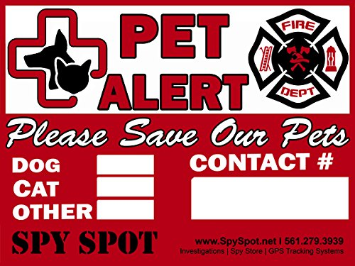 6 Pack Fire Rescue Pet Alert Vinyl Stickers