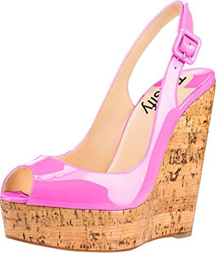Trusify Mujer 12cm EU tamaño 34-46 Truabandon Tacón ancho 12CM Sintético Sandalias de vestir Rosa