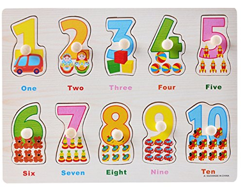 (Jumbo Numbers Wooden Chunky Puzzle, Moonvin Numbers and Matching Wooden Peg Puzzle Preschool Education Toy for)
