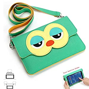 "7 & 7.85 & 7.9 Inch Universal Tablet RCA,Nextbook,IRulu,Fire 2015 2016,Verizon,AT&T,Kindle 7"",much more Bag Purse Case Messenger Cover With Adjustable Strap and Built-in Screen Protector (GREEN OWL)"