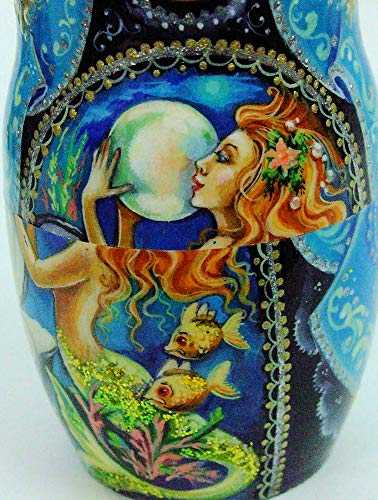 7pcs Hand Painted Russian Nesting Doll 'Mermaids by Ilyukova by Olga's Russian Collectibles (Image #7)