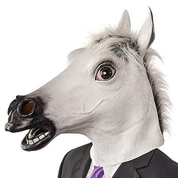 Carnival Toys Máscara de látex caballo en bolsa con encabezado, color blanco (1403)