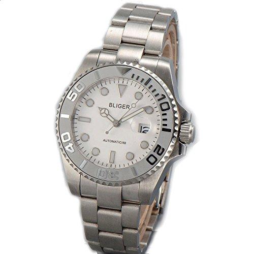 (Sapphire Glass Bliger 40mm white dial Luminous marks ceramic Automatic movement men's watch BL35)