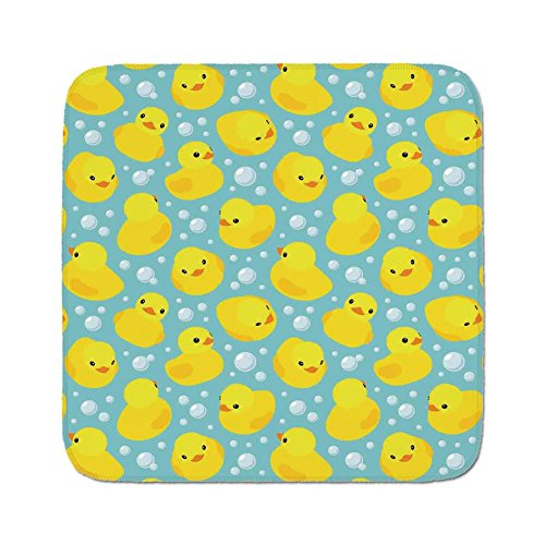 Cozy Seat Protector Pads Cushion Area Rug,Nursery,Cute Happy Rubber Duck and Bubbles Cartoon Pattern Childhood Kids Theme Art,Aqua and Yellow,Easy to Use on Any Surface