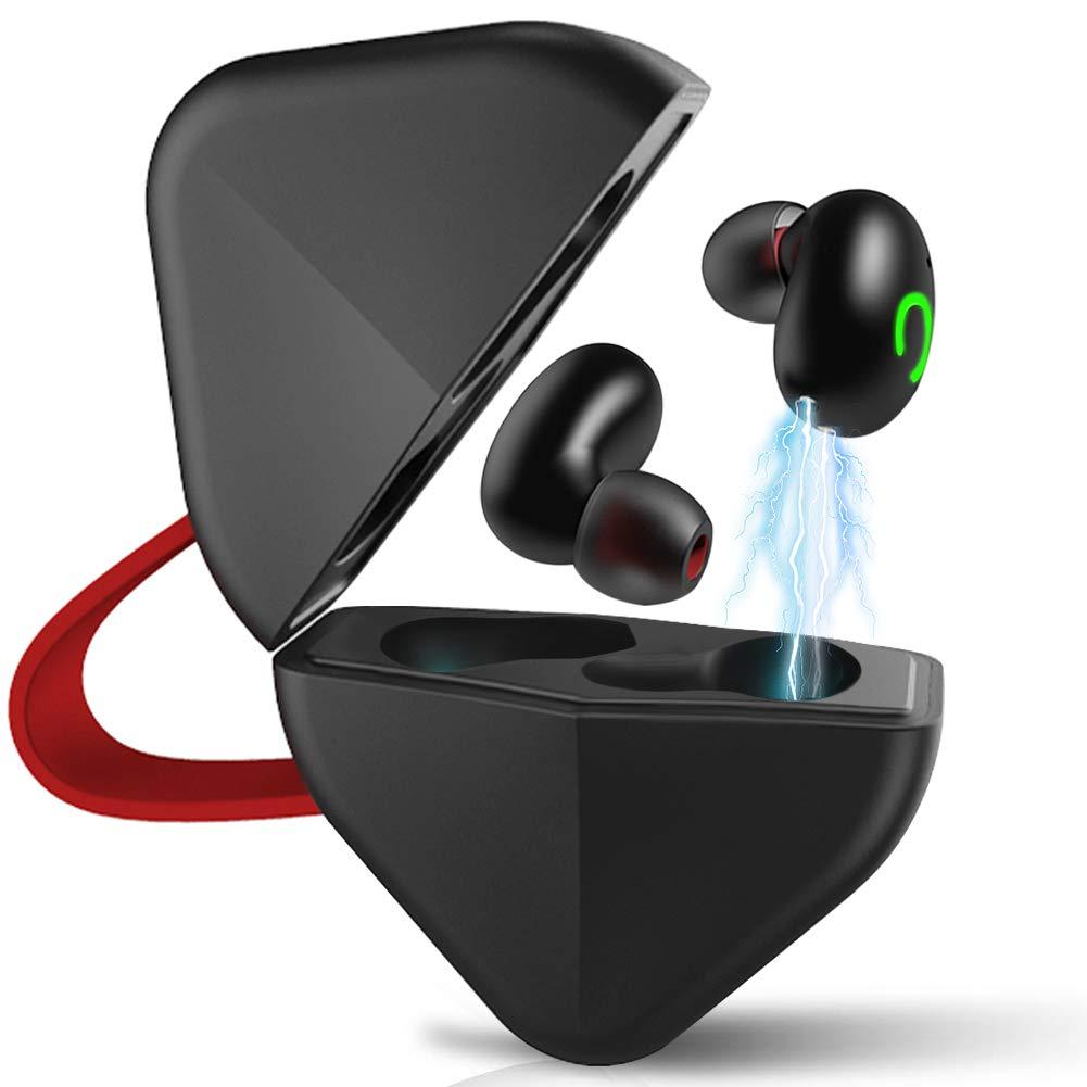 Hieha True Wireless Earbuds Bluetooth 5.0 Ipx7 Waterproof Built in Mic in-Ear Headphones with Deep Bass Hi-Fi Sound Charging Case Noise Cancelling Earphones for Sport Running,Black