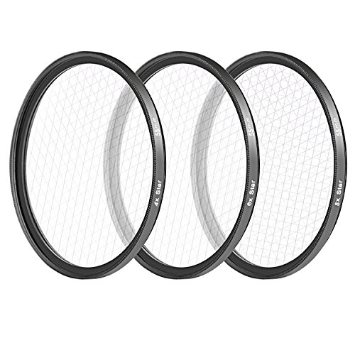 - Neewer 55MM 3 Pieces Points Star Lens Filters Kit for Sony Alpha Series A99 A77 A58 A57 A390 A100 A33 A900 A850 A700 A7  A7III A6000 A6500 DSLR Camera, Includes 4 / 6 / 8 Points Star Filter(Black)