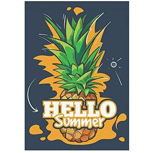 Dongingp Tropical Pineapple Palm Tree Garden Flag Outdoor Banner, American California Los Angeles Decorative Large House Flags Party Yard Home Decor, 100% Polyester -