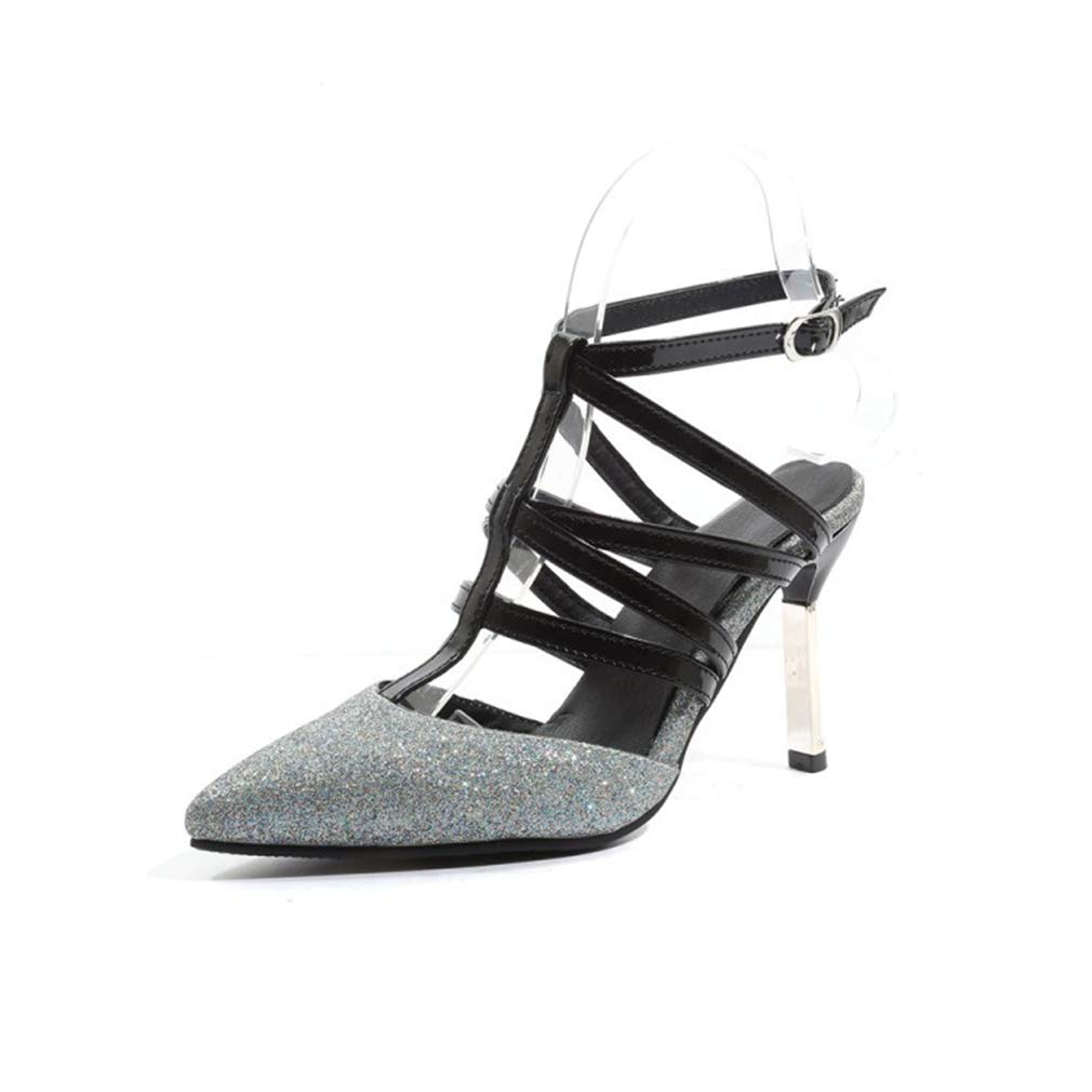 YXB Womans Pumps 2019 New Dress Shoes Pointed Ankle Lace-Up Shoes PU High-Heeled Ladies Shoes Wedding Party /& Evening Plaid Silver,B,38