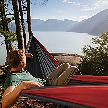 Fox Outfitters Neolite Double Camping Hammock Travel Yard Hammock Straps /& Steel Carabiners Included Beach Lightweight Portable Nylon Parachute Hammock for Backpacking