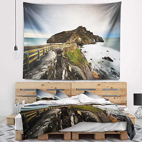 Designart TAP9476-60-50 'Path to Cape and Chapel in Spain' Seashore Photo Tapestry Blanket Décor Wall Art for Home and Office, Large: 60 in. x 50 in, Created on Lightweight Polyester Fabric by Designart