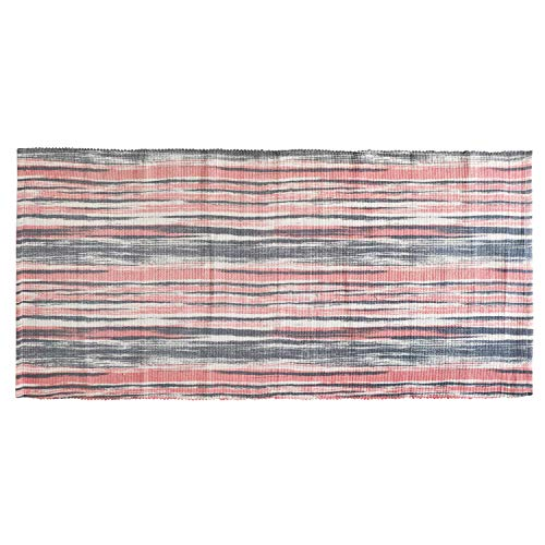 USTIDE Coral Orange Cotton Printed Rug, Decorative Rug Hand Woven Rag Rug Entryway Thin Throw Mat for Laundry Room Bedroom Dorm