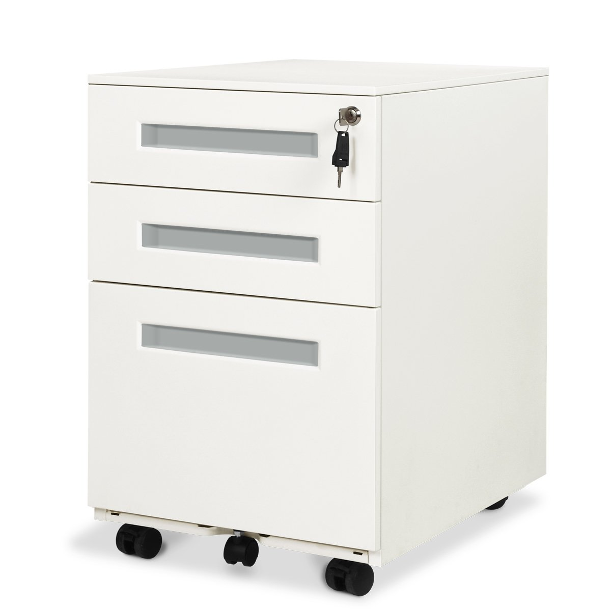 DEVAISE 3-Drawer Mobile Pedestal File Cabinet with Lock, Legal/Letter Size