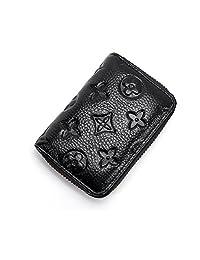 Women RFID Blocking Credit Card Holder Wallet Men Leather Multi Zipper Purse