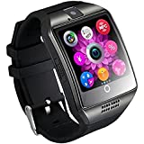 Mgaolo Q18 Smart Watch Smartwatch Bluetooth Touchscreen Wrist Watch with Camera Unlocked Cell Phone TF/SIM Card Slot for Android and IPhone Smartphones for Kids Girls Boys Men Women(Black)