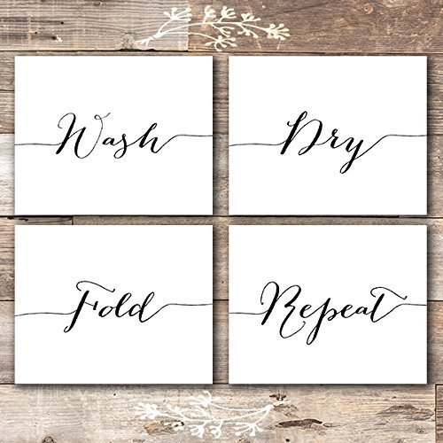 Wash Dry Fold Repeat - Laundry Room Wall Decor Art Prints (Set of 4) - Unframed - 8x10s by Dream Big Printables