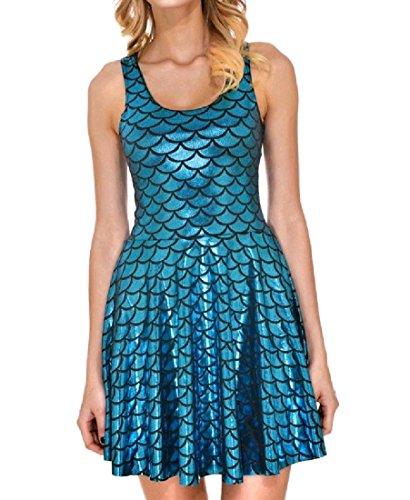 Sun Pattern1 Shinny Fit Slim Pleated A Women Sleeveless Coolred Dress Line Mini w4nxYPa
