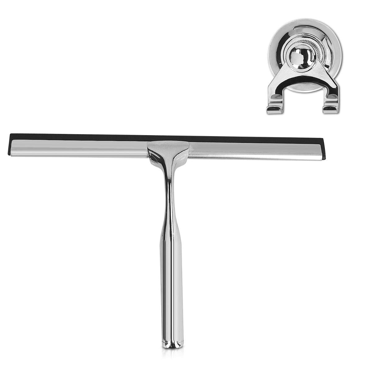 Navaris Shower Squeegee Window Cleaner - Stainless Steel Shower Door, Glass, Mirror, Wall, Bathroom Cleaner with Suction Cup Hook Holder - 10 Inch by Navaris