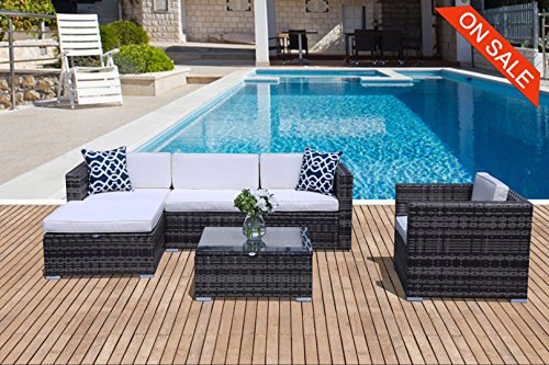 PATIOROMA Outdoor Patio Furniture Set 6 Piece Sectional Sofa Set with Grey Wicker White Cushions,Two Blue Throw Pillows -