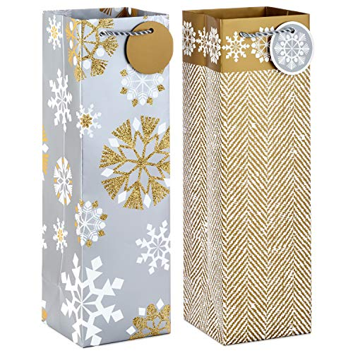 Hallmark Holiday Bottle Gift Bags, Silver and Gold Snowflakes (Pack of 2)