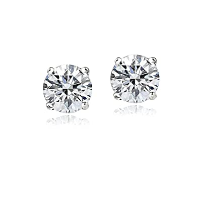 1343c8497 Image Unavailable. Image not available for. Color: 14K White Gold 1.5Ct Cubic  Zirconia Stud Earrings