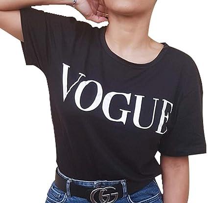 Camiseta de Manga Corta voge. Camiseta Corta algodón de Mujer. (V Negra) - S: Amazon.es: Ropa y accesorios