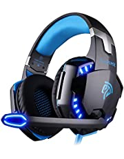EasySMX Comfortable LED 3.5mm Stereo Gaming LED Lighting Over-Ear Headphone Headset Headband with Mic for PC Computer Game with Noise Cancelling & Volume Control [2019 Edition]