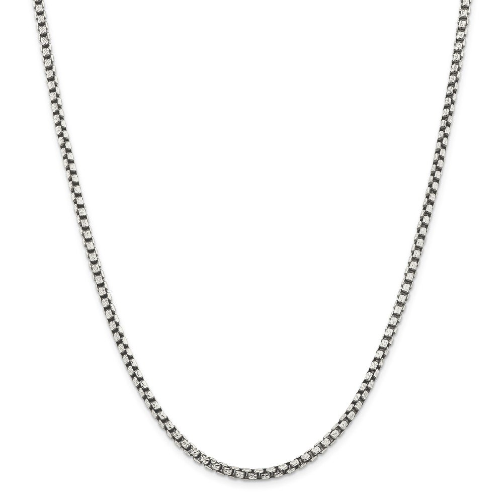 Solid 925 Sterling Silver 3.5mm Antiqued-Style Fancy Chain Necklace 20'' - with Secure Lobster Lock Clasp by Sonia Jewels
